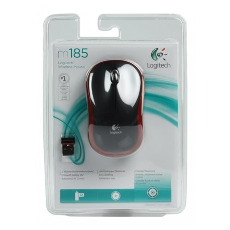 Maus optisch USB Logitech M185 Red Wireless Mouse