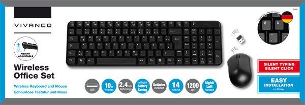 Vivanco Keyboard + Mouse Wireless-Set,2,4 GHz Keyboard & Optical Mouse