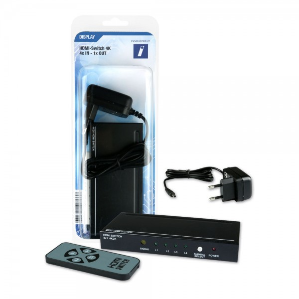 HDMI Switch 4xIN / 1xOUT 4K inkl. Fernbedienung